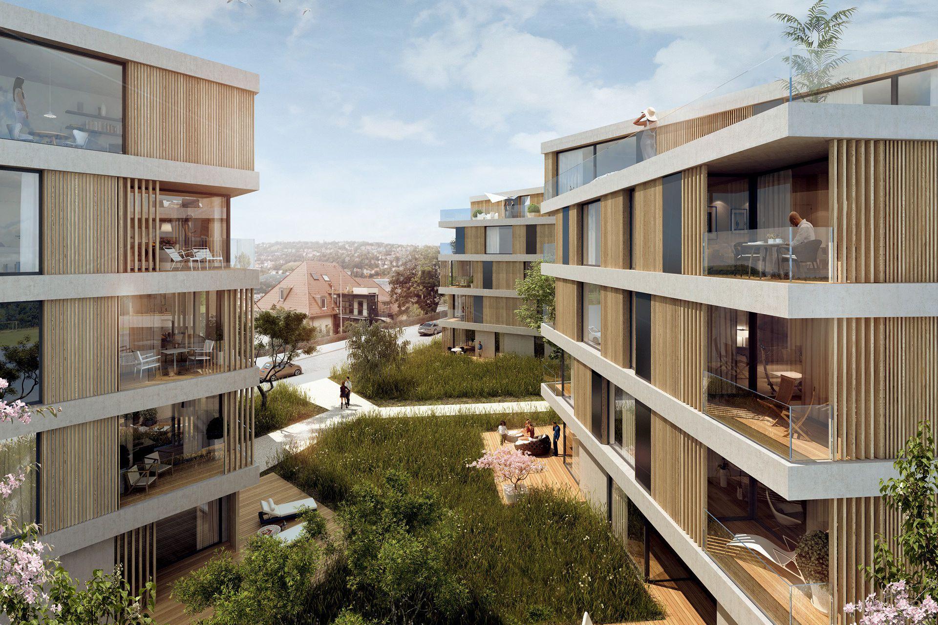 Architekturvisualisierung Stuttgart wohnhäuser stafflenbergstraße stuttgart konzept3d 3d
